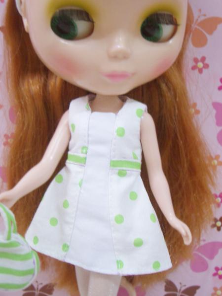 小布點拼接洋裝綠色款5