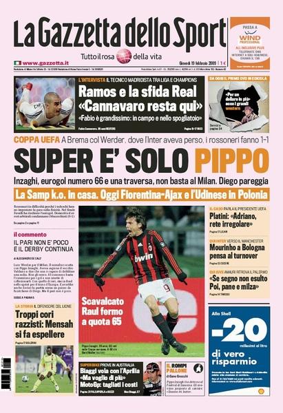 米蘭體育報-20090219 Super E' Solo Pippo