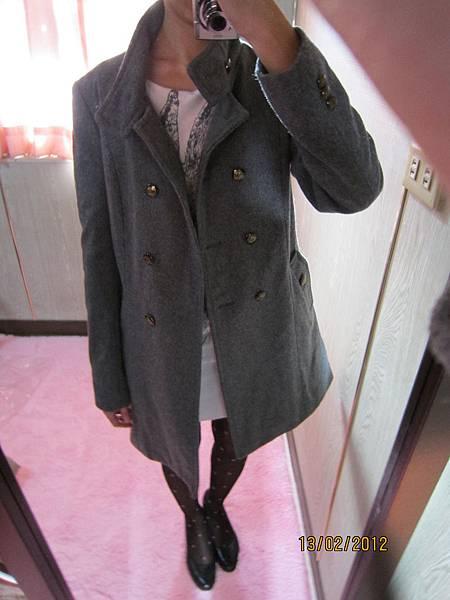 韓˙帥氣風格 立領 雙排釦大衣˙XS 灰色