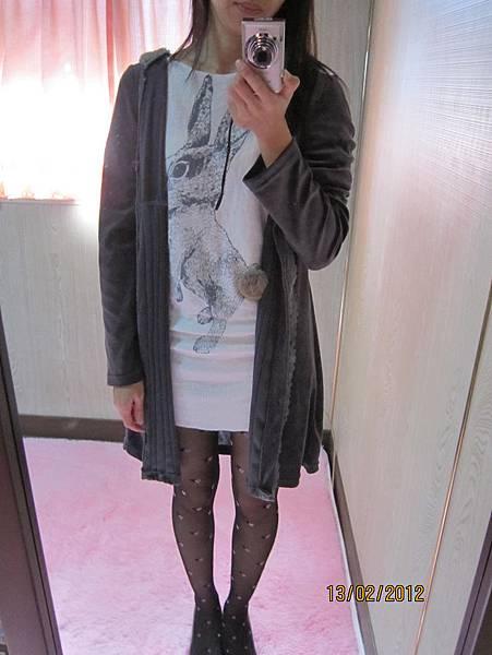 日系˙蕾絲細絨長版軟綿綿帽 長版外套˙可當洋裝