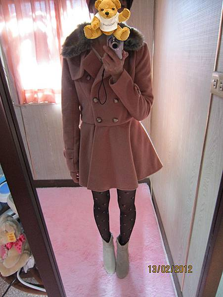 正韓˙毛領可拆傘狀大衣˙藕粉色  給你戀愛好氣色