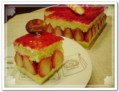 法式草莓蛋糕切片
