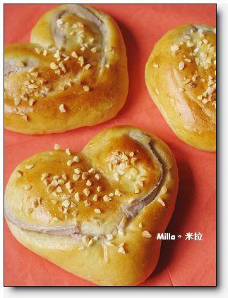 愛心芋泥麵包