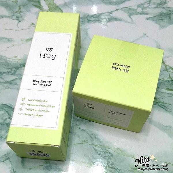 育兒保養品推薦韓國Hug-寶寶修護舒緩霜、100%蘆薈舒緩爽身凝膠乾癢、脫屑,舒緩滋潤柔嫩肌膚,孕婦也能使用.jpg