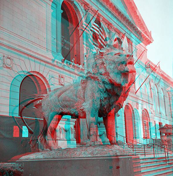 Art_Institute_of_Chicago_Lion_Statue_anaglyph_stereo1