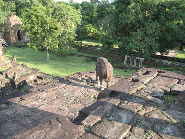 層層爬上主塔,每一層的四個角落有大象鎮守