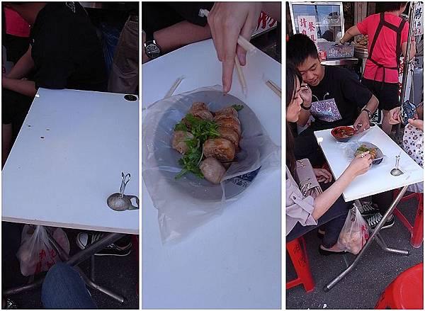 我們四位坐在這可憐的小桌子用餐。