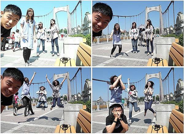 在橋上玩起跳躍的遊戲,笑翻我了。