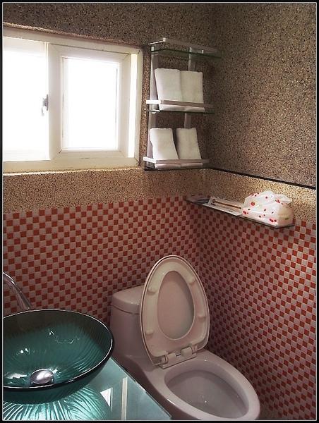 廁所是用馬賽克專貼的