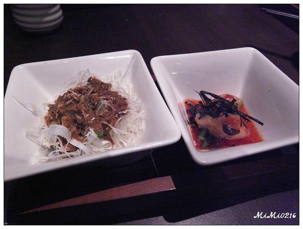 前菜上場,和風杏包菇&高麗菜絲。