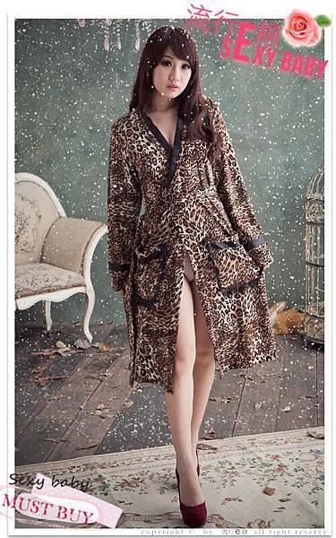 千嬌百媚豹紋睡袍,性感睡袍 性感睡衣
