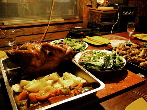 烤雞&山菜