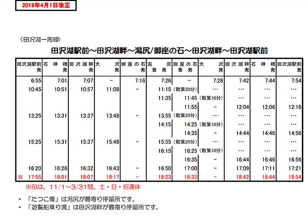 田澤湖交通時刻表