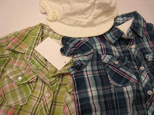 女孩兒小包袖格紋襯衫 949050 -2.JPG