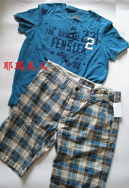 H&M夏日格紋五分短褲2 1380元.JPG