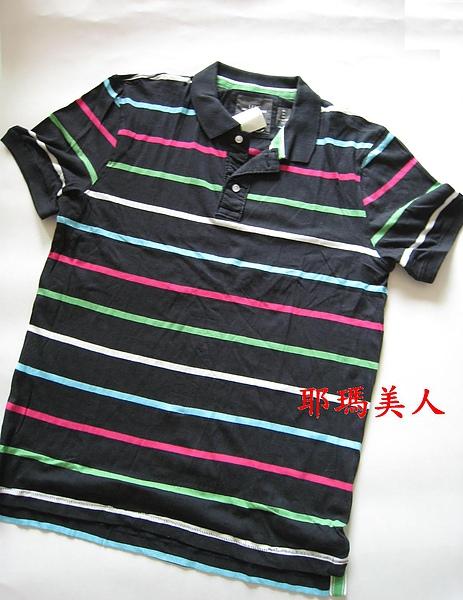H&M彩色條紋黑底POLO衫2 1280元 604700.JPG