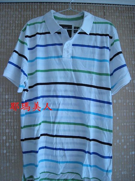 H&M彩色條紋白底POLO衫2 604700.JPG