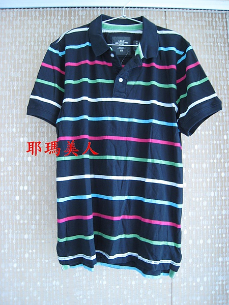 H&M彩色條紋黑底POLO衫1 1280元 604700.JPG