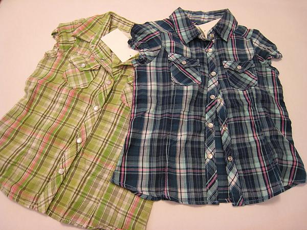 女孩兒小包袖格紋襯衫 949050.JPG