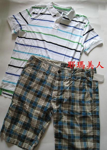 H&M彩色條紋白底POLO衫1.JPG