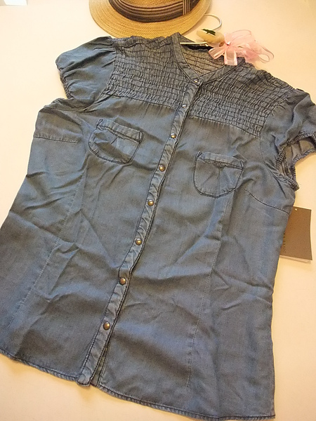 ZARA 單寧風小包袖復古襯衫 7462 -2.JPG