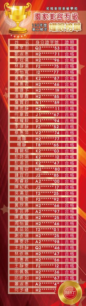 美丙104-2榜單
