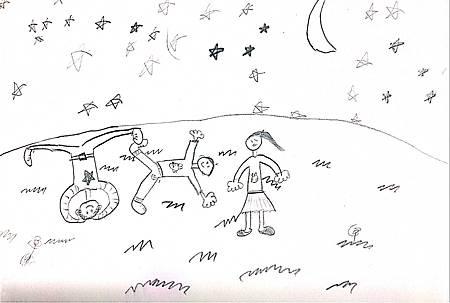 我們全家躺在草原上看星星