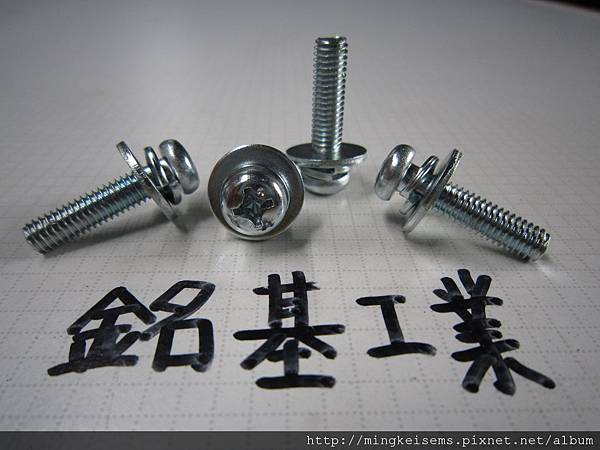 組合螺絲SEMS P圓頭十字螺絲套附二片華司組合M6X25 PHILIPS HEAD SCREW WITH SPRING+FLAT WASHERS COMBINATIONS