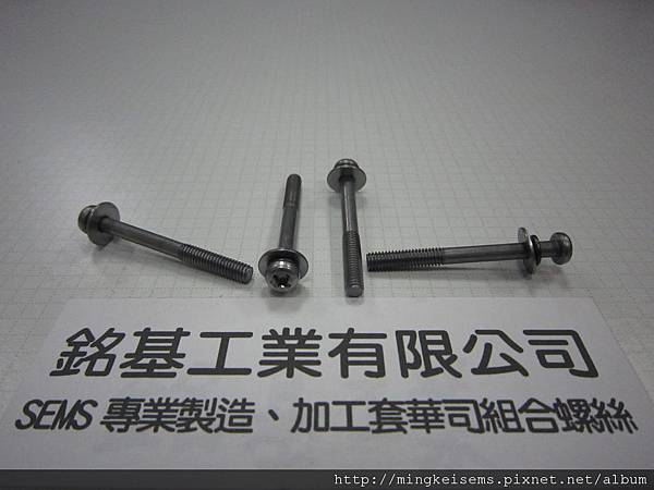 附華司螺絲SEMS  圓頭十字螺絲套附二片華司組合M4X39.5 PHILIPS HEAD SCREWS WITH SPRING+FLAT WASHERS COMBINATIONS