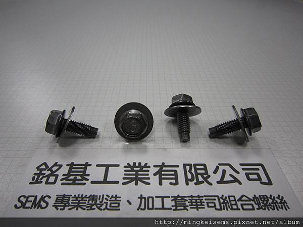 套附華司螺絲SEMS SCREW六角華司頭螺絲套附平華司墊圈M6X16 HEX WASHER HEAD SCREW WITH FLAT WASHER COMBINATIONS