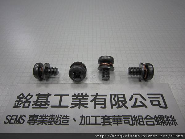 套華司螺絲SEMS SCREWS岡山頭螺絲套附二片墊圈組合M6X12 FILLISTER SCREWS WITH SPRING+FLAT WASHERS ASSEMBLED