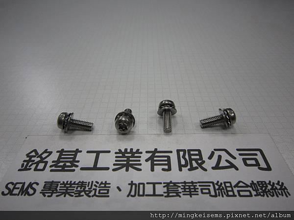 組合螺絲SEMS SCREWS 白鐵梅花孔螺絲套附外齒華司和平華司組合M4X12 STAINLESS STEEL TORX SCREWS WITH EXTERNAL TOOTHED LOCK WASHER+FLAT WASHER ASSEMBLED