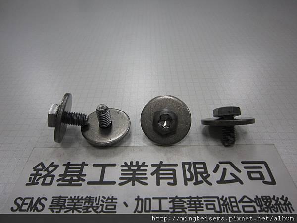 組合螺絲SEMS SCREWS 六角梅花孔螺絲套附平華司(墊圈)組合M6X12 HEX HEAD TORX SCREWS & FLAT WASHER ASSEMBLED