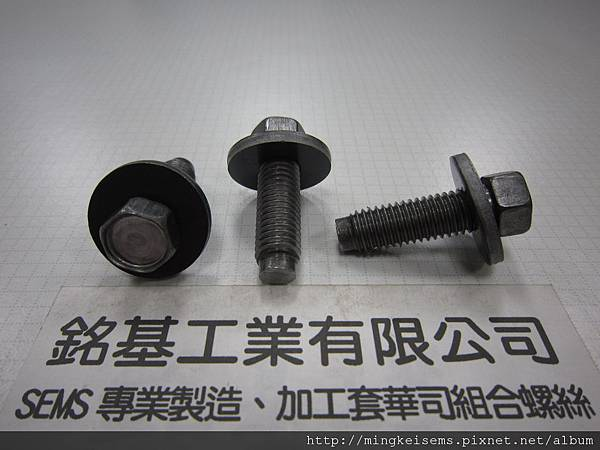 套華司螺絲SEMS SCREWS 六角螺絲套附平華司組合M10X33 HEX HEAD SCREWS &FLAT WASHER ASSEMBLED
