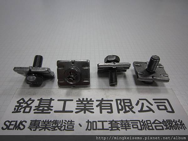 組合螺絲SEMS SCREWS 六角十字螺絲套附波型彈簧華司和長方型四角華司組合M6X16 HEX HEAD SCREWS & WAVE SPRING WASHER+RECTANGULAR SQUARE WASHER ASSEMBLED