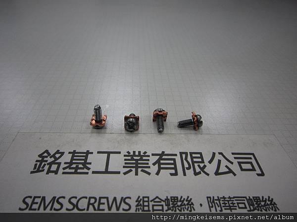 組合螺絲SEMS SCREWS 圓頭十字割溝螺絲套附四角華司組合M3X8 PAN HEAD SCREWS & SQUARE WASHER ASSEMBLED