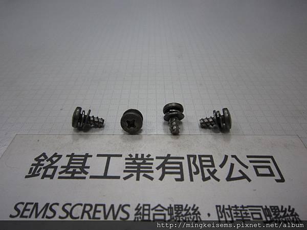 組合螺絲SEMS 白鐵厚頭十字自攻牙螺絲套附雙片華司組合M4X9 STAINLESS STEEL SELF TAPPING SCREWS WITH SPRING+FLAT WASHERS ASSESMBLED