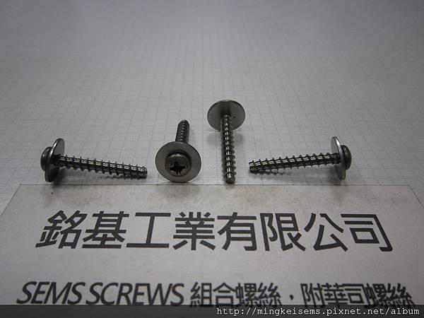 螺絲附華司SEMS SCREWS 白鐵圓頭自攻牙螺絲套附平華司組合M4X25 STAINLESS STEEL SELF TAPPING SCREWS & FLAT WASHER ASSEMBLY