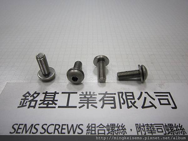 組合螺絲 SEMS SCREWS 白鐵半圓內六角螺絲套附平華司組合M5X14 STAINLESS STEELHEX SOCKET LOW(THIN)HEAD CAP SCREWS WITH FLAT WASHERS ASSEMBLIES