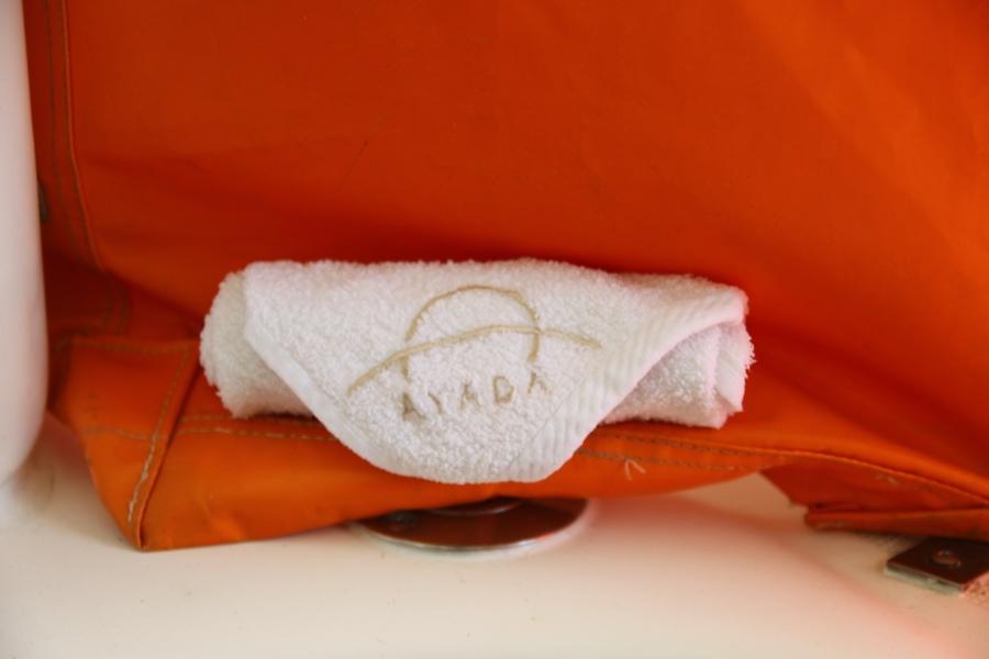 上船後貼心的地上冰冰的小毛巾