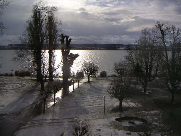 湖邊的雪景