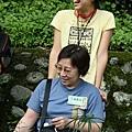 可愛的阿姨,在輪椅上插滿了植物