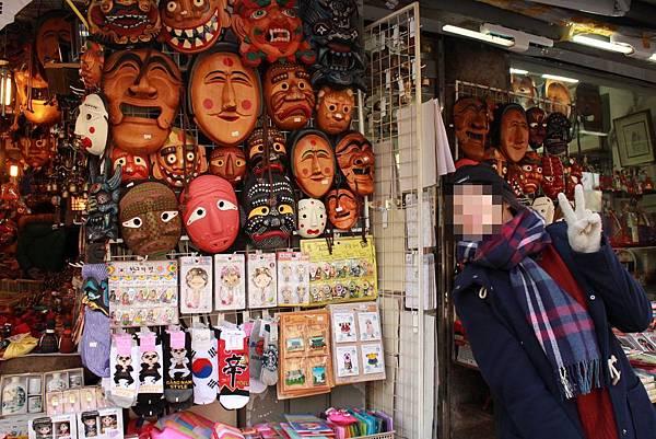 Shop selling bizarre masks in Insadong