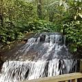 步道旁的瀑布