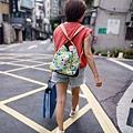 大容量肩背後背兩用包穿搭示範(1)