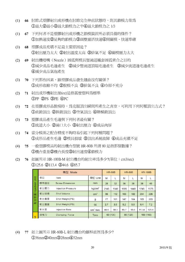 Microsoft Word - 塑膠模具題庫2011-9月更新版.doc00019