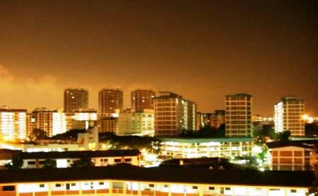 night scene from room window