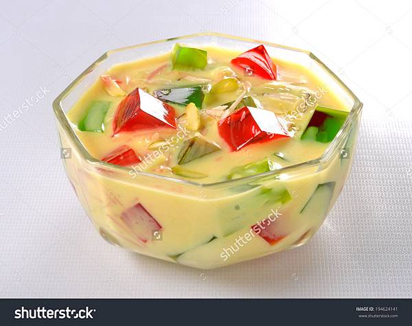 Jelly with custard