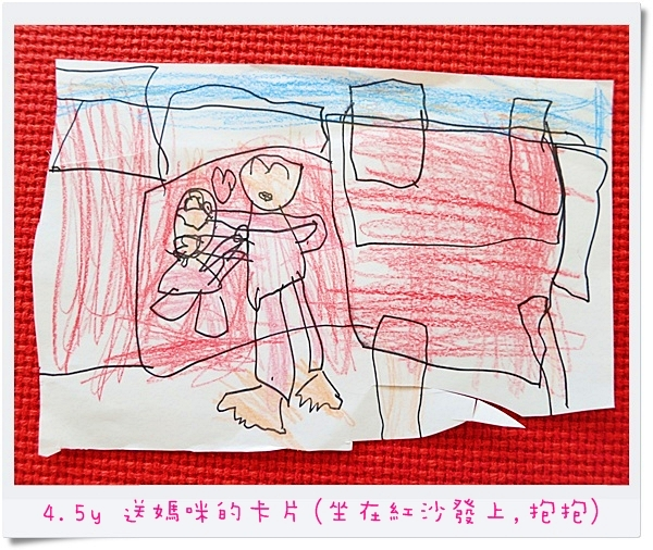 4.5y 送媽咪的卡片(坐在紅沙發上,抱抱)
