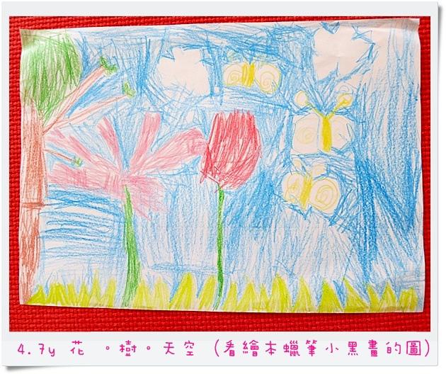 4.7y 花 。樹。天空 (看繪本蠟筆小黑畫的圖)